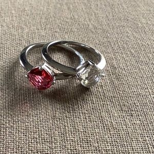 Swavorski rings2 approximately 7 1/2 pink/clear